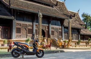 Scooter in front of Thai Temple